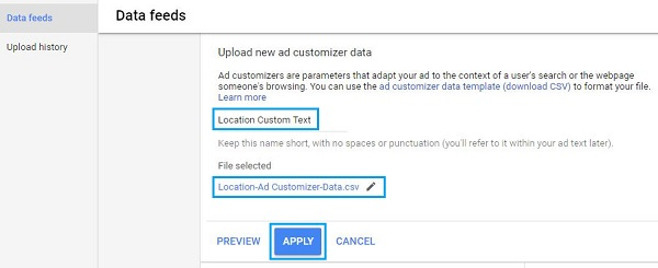 Upload Ad Customizer in Google Ads Account