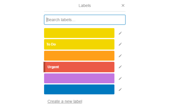 TRELLO - Label Creation with Custom Colors To Apply Labels on Task >> Click Labels>> Single click on the label name you want to apply