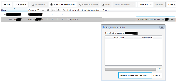 Google Adwords Editor Tool - Open a different Account